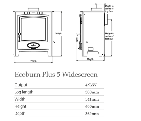 Ecoburn Plus 5 Widescreen Dimensions - Stove Supermarket