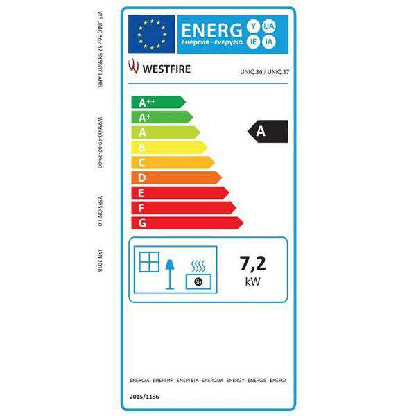 Westfire Uniq 37 Wall Hung SE Wood Burning Stove - Energy Label - Stove Supermarket