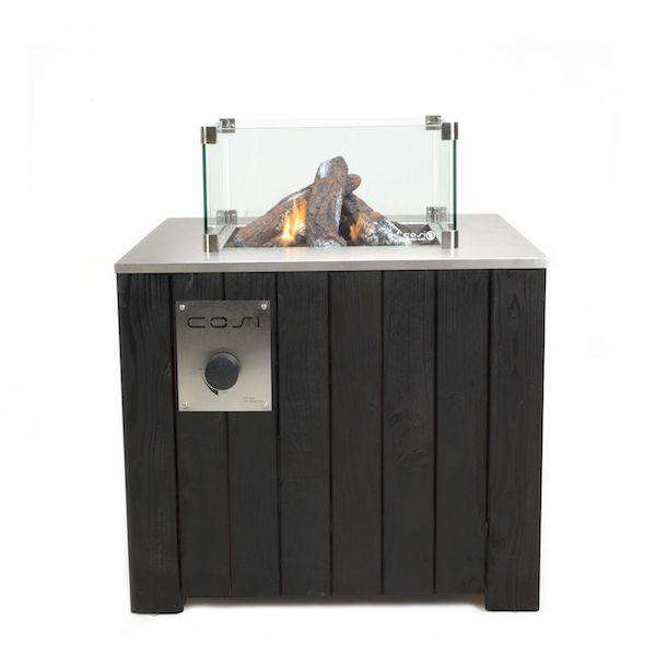Pacific Lifestyle Cosicube 70 Black Fire Pit - Square Glass - Stove Supermarket