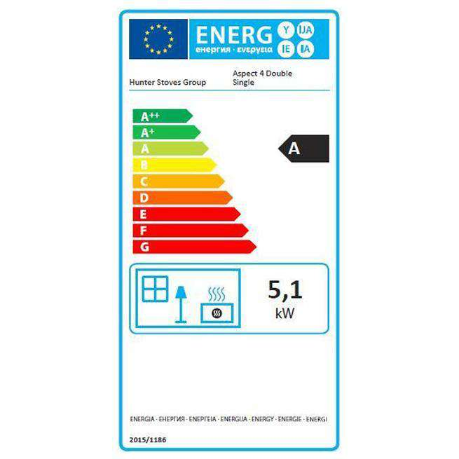 Parkray Aspect 4 Double Sided Single Depth - Energy Label