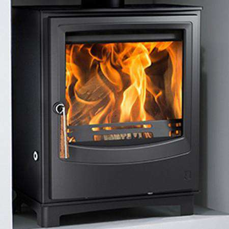 Aarrow Farringdon Medium DEFRA Wood Burning Stove - zoomed wooden handle