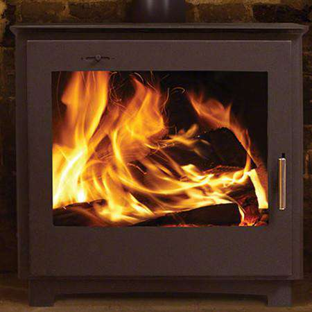 Aarrow Stratford Ecoboiler EBW12 Wood Burning Boiler Stove - live front view zoomed