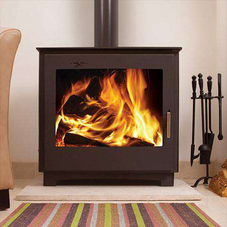 Aarrow Stratford Ecoboiler EBW12 Wood Burning Boiler Stove - live front view flames