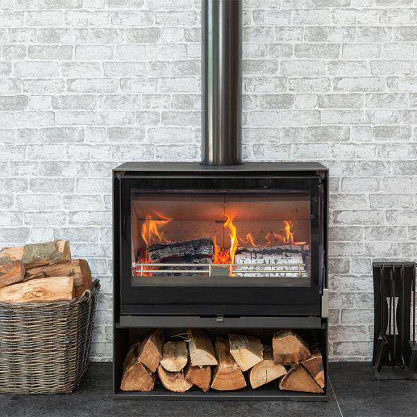 Mendip Christon 750 Log Store SE Wood Burning Stove - Stove Supermarket