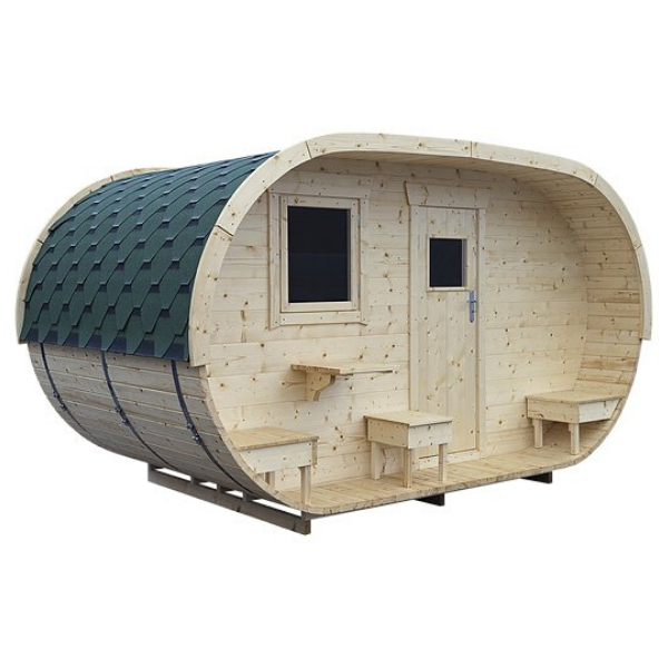 Naked Flame Oval Sauna And Accommodation Wood Fired Sauna - Stove Supermarket
