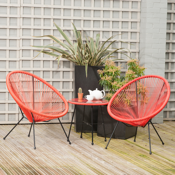 Pacific Lifestyle Rio 3 Piece Red Bistro Set - Stove Supermarket