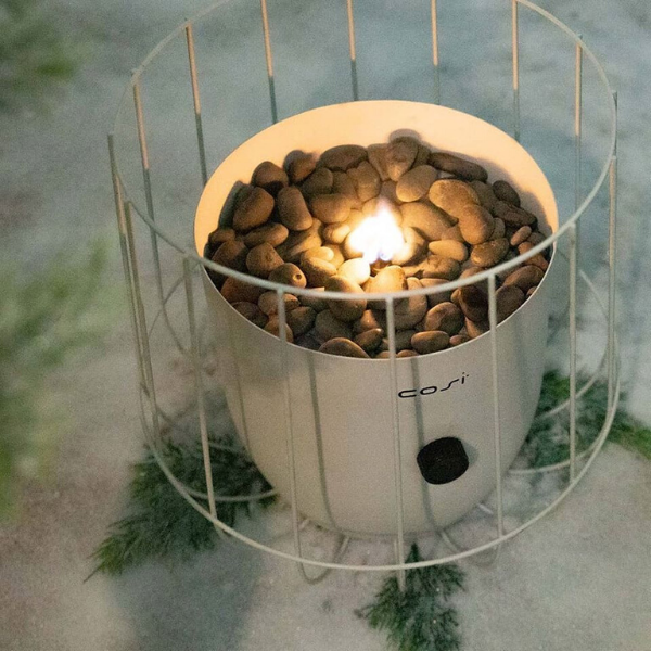 Cosiscoop White Basket Garden Table Top Fire Lantern - Stove Supermarket