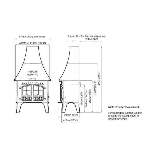 Hunter Inglenook High Output Multi Fuel / Wood Burning Stove - Dimensions