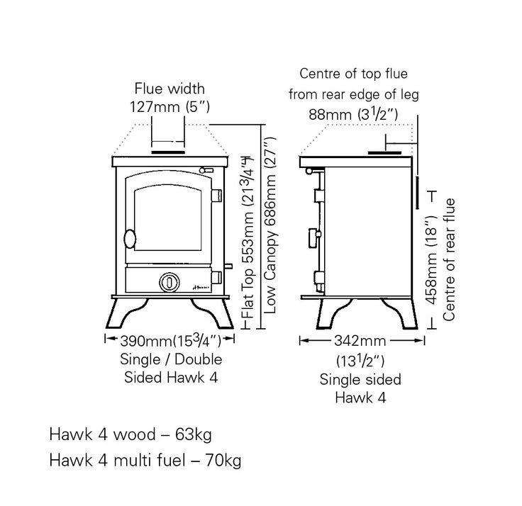 Hunter Hawk 4 Multi Fuel / Wood Burning Stove - Dimensions