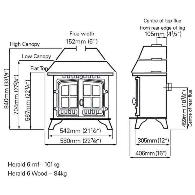 Hunter Herald 6 Multi Fuel / Wood Burning Stove - Dimensions