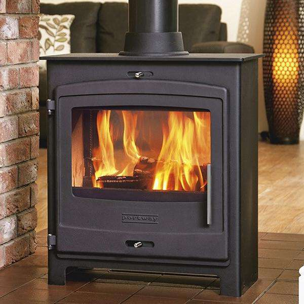 Portway 2 Double Sided Multi Fuel / Wood Burning Stove - CONTEMPORARY DOOR