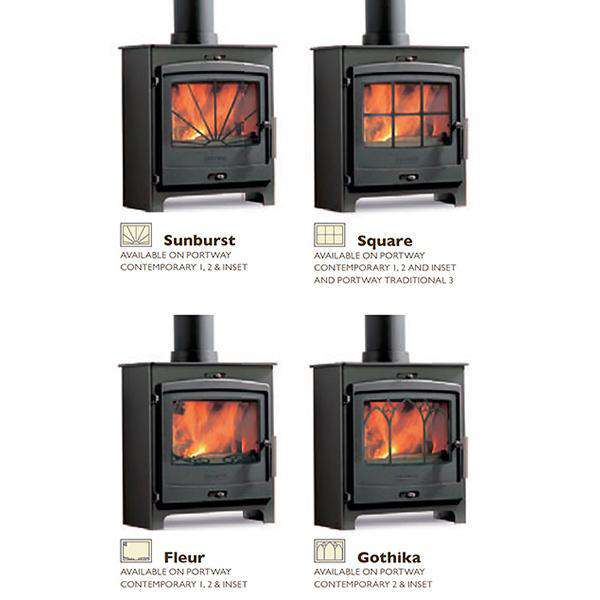 Portway 2 Double Sided Multi Fuel / Wood Burning Stove - Stove Supermarket