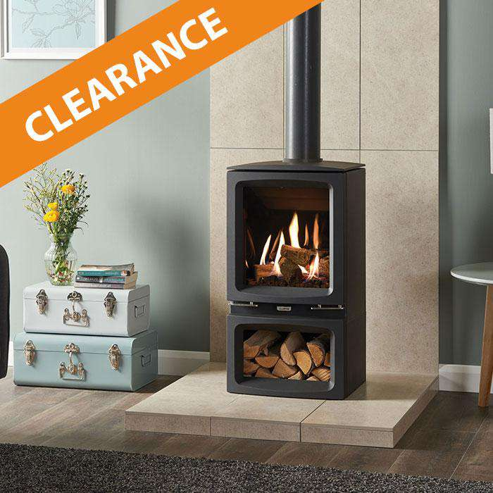 Gazco Vogue Midi Midline / NG / CF / Black Glass Stove - CLEARANCE