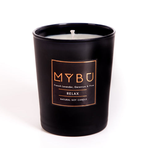 Natural Soy Candle | RELAX - French Lavender, Geranium & Forest Pine