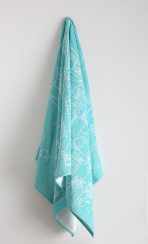 Cape Town Illustrated Beach Towel - Blue