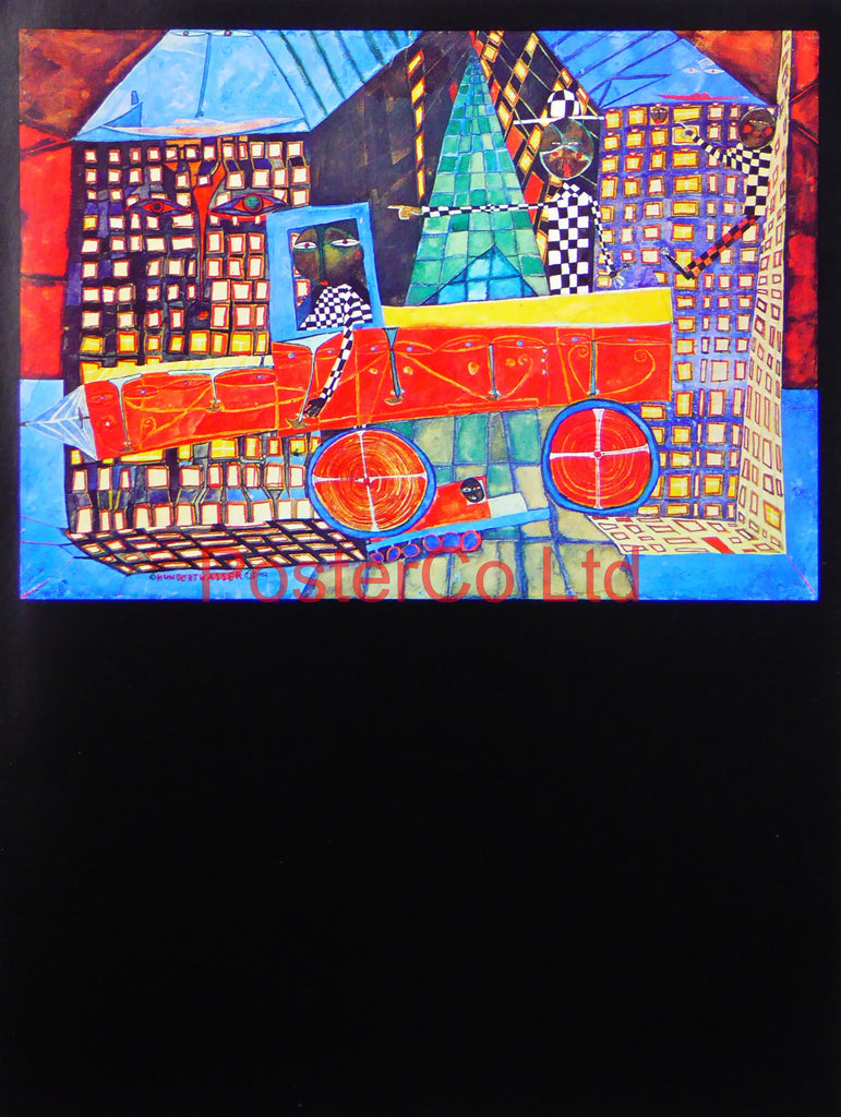 "Hundert Wasser 'Daydreaming truck Driver with His Houses' - Framed Picture - 16""H x 12""W"