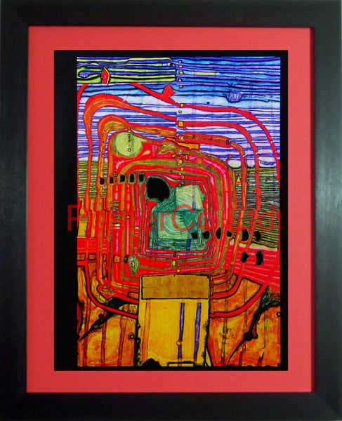 "Hundert Wasser 'Homage to Tachism' - Framed Picture - 16""H x 12""W"