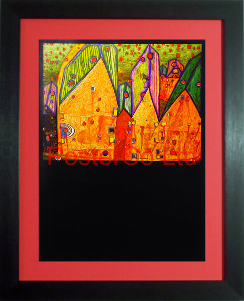 "Hundert Wasser 'Houses in Rain of Blood-A picture that Makes an Austrian Jew Weep' - Framed Picture - 16""H x 12""W"