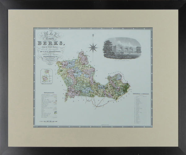 "Berkshire Map by C & J Greenwood - Framed Print - 16""H x 20""W"