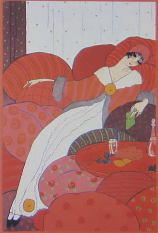 "Georges lepape ""Les Coussins"" Lady reclining on red cushions"