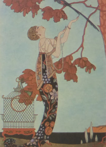 George Barbier The Flighty Bird Lady under a tree with empty bird cage