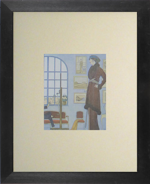 Bernard Boutet de Monvel La Séance du Portrait Lady in brown fir trimmed coat by window