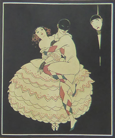 "Georges Barbier The Fire, Illustration For ""fetes Galantes"" 2 Dancers on black background (harlequinesque)"