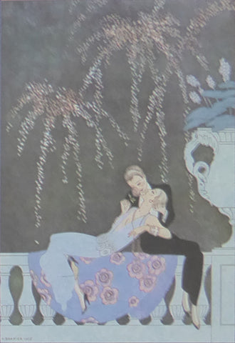 Georges Barbier The Fire 2 Ladies reclining on ornamental ballustrade with black background