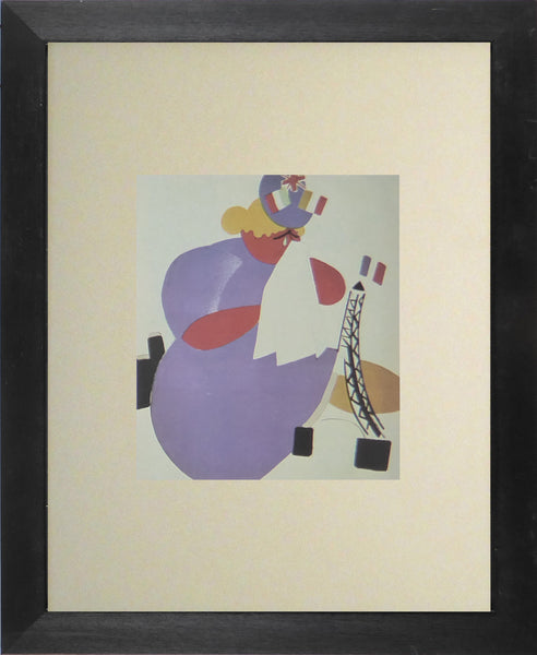Abstract lady in purple with white handerkerchief
