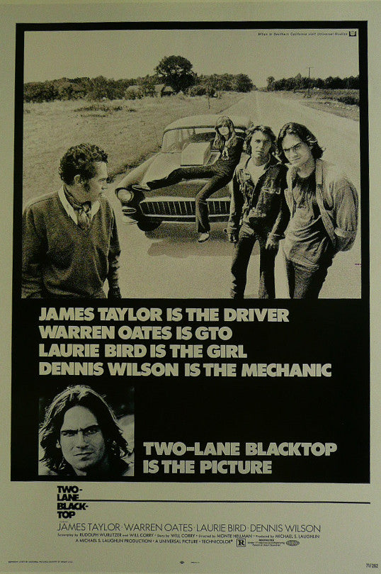 Two Lane Black Top James Taylor  Warren Oates  Movie Poster