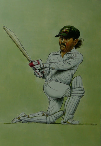Allan Border Cricket Caricature by John Ireland