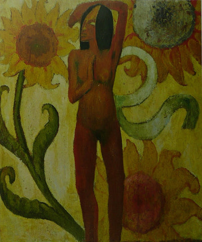 Caribbean woman with sunflowers Gauguin