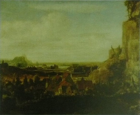 A river valley with a group of houses Hercules Segers