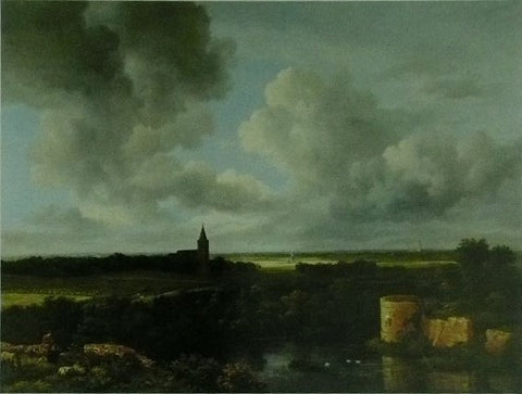 A landscape with a ruined castle and a church Jacob van Ruisdael