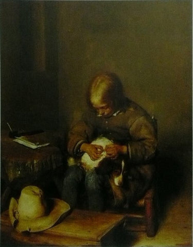 A boy ridding his dog of fleas Gerard ter Borch