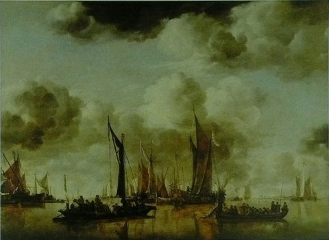 A shipping scene with a Dutch yacht firing a salute Jan van de Cappelle