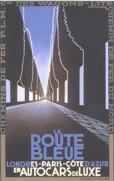 La Route Bleue Londres Paris Cote D'Azur 1929 Cassandre (Art Deco Advert)