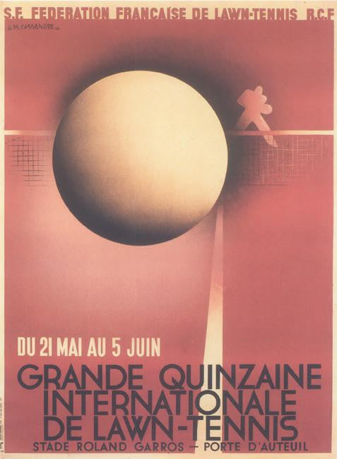 Grande Quinzaine Internationale de Lawn Tennis 1932 Cassandre (Art Deco Advert)