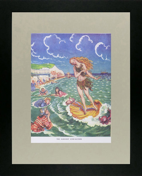 Punch Cartoon Art The Earliest Surf Bather Ernest Howard Shepard (1938)