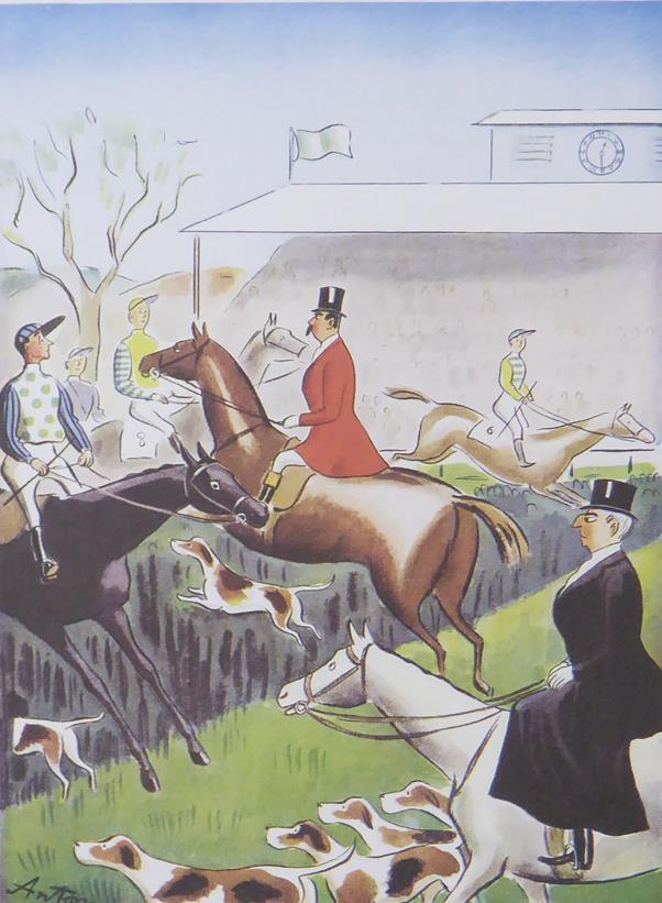 Punch Cartoon Art Horse racing scene Anton (Antonia Yeoman) (1939)