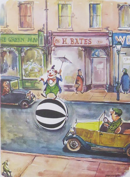 Punch Cartoon Art Man on large black & white ball on street William Hewison (1953)
