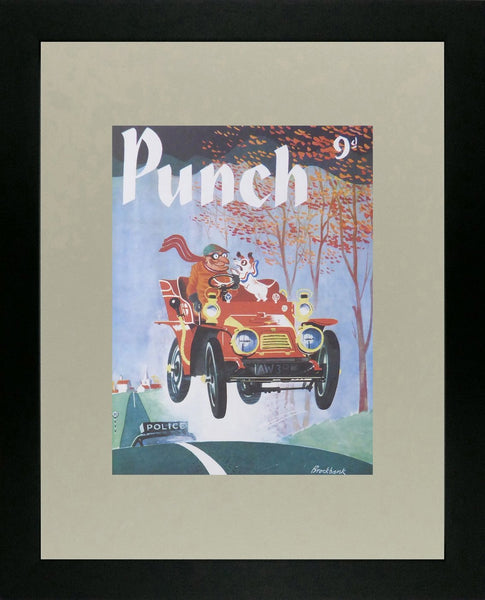 Punch Cartoon Art Cover Art Burglar in red car pursued by police Russell Brockbank (1956)