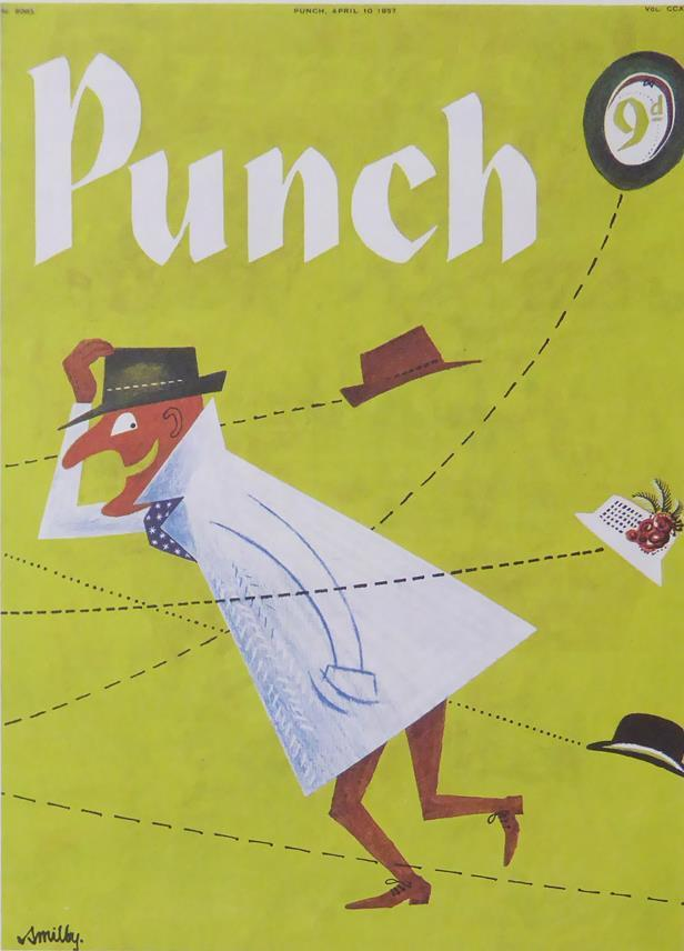 Punch Cartoon Art Cover Art Man in white coat & black hat Smilby (Francis Wilford Smith) (1957)