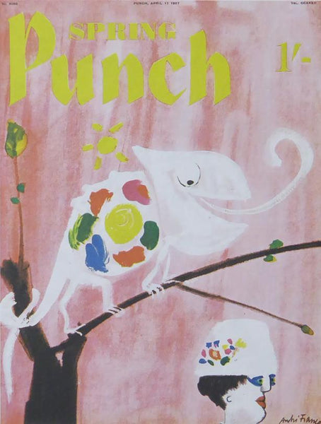 Punch Cartoon Art Cover Art Chameleon on tree branch Andre Francois (1957)