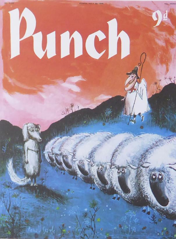 Punch Cartoon Art Cover Art Shepherd with sheep and sheepdog Ronald Searle (1958)