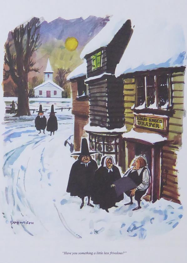 Punch Cartoon Art 2 puritans ouside a drapers shop William Hewison (1960)