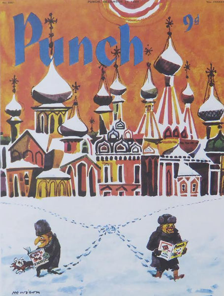 Punch Cartoon Art Cover Art Red Square scene in the snow William Hewison (1959)
