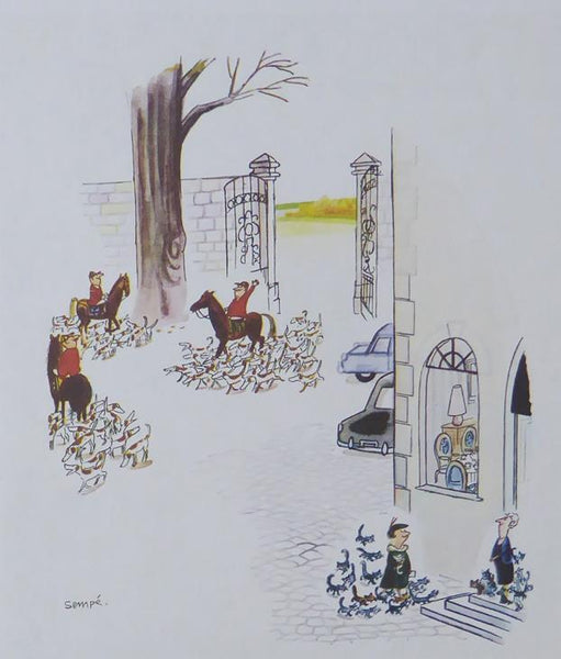 Punch Cartoon Art Courtyard hunt scene Jean Jaques Sempe (1960)