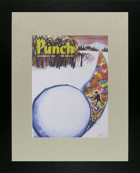 Punch Cartoon Art Cover Art Huge snowball being rolled to reveal flowers underneath Kenneth Mahood (1963)