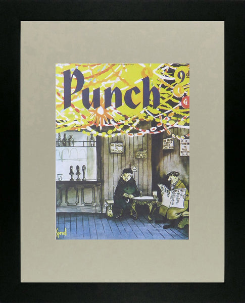 Punch Cartoon Art Cover Art Pub scene with 2 old people George Sprod (1967)